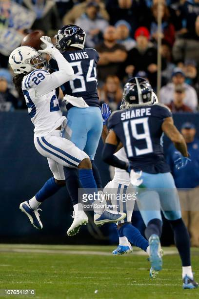 Indianapolis Colts Safety Malik Hooker breaks up the pass to Tennessee Titans Wide Receiver Corey Davis during the NFL game between the Tennessee...