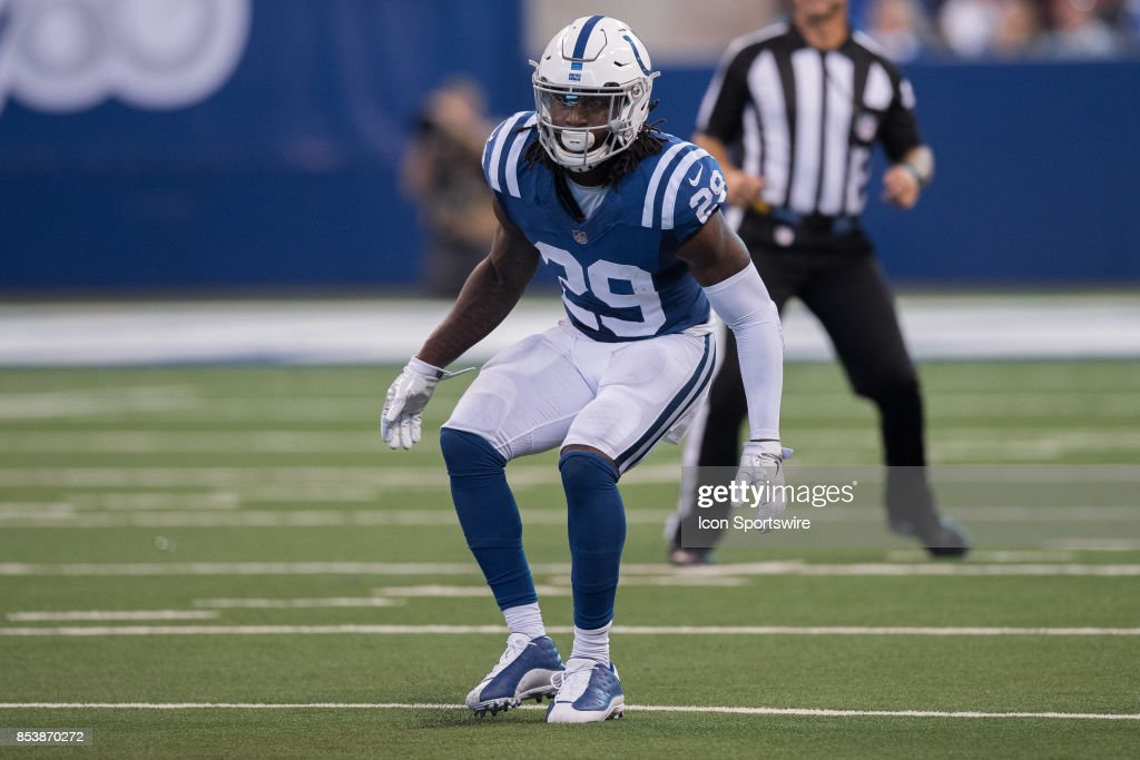 Indianapolis Colts safety Malik Hooker (29) in the backfield during the NFL game between the Cleveland Browns and Indianapolis Colts on September 24, 2017, at Lucas Oil Stadium in Indianapolis, IN.
