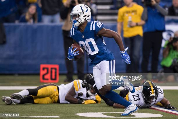 Indianapolis Colts wide receiver Chester Rogers breaks away from Pittsburgh Steelers safety Mike Mitchell for a 61 yard touchdown during the NFL game...