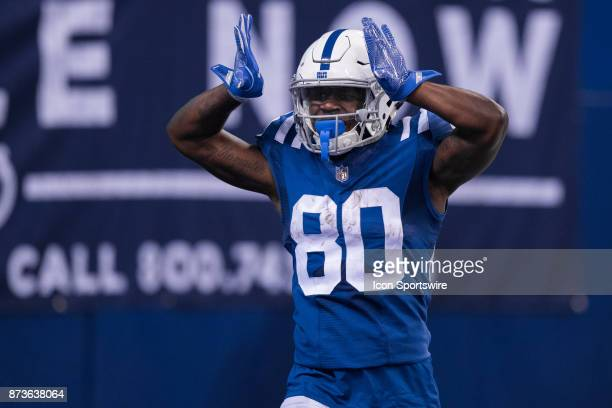Indianapolis Colts wide receiver Chester Rogers celebrates a touchdown during the NFL game between the Pittsburgh Steelers and Indianapolis Colts on...
