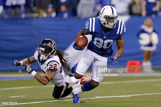 Indianapolis Colts Wide Receiver Chester Rogers gets around Houston Texans Cornerback Denzel Rice during an NFL football game between the Houston...