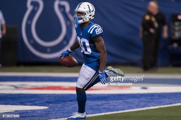 Indianapolis Colts wide receiver Chester Rogers runs in for a 61 yard touchdown during the NFL game between the Pittsburgh Steelers and Indianapolis...