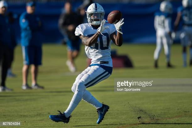 Indianapolis Colts wide receiver Chester Rogers runs through a drill during the Indianapolis Colts training camp on August 8 2017 at Lucas Oil...