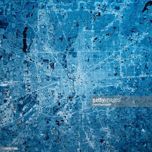 indianapolis indiana 3d render map blue top view nov 2019 - frankramspott imagens e fotografias de stock