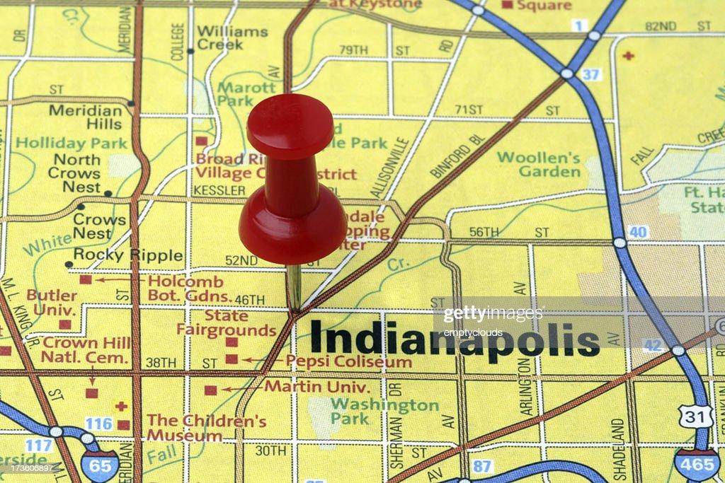 Indianapolis Indiana Auf Einer Karte Anzeigen Stock-Foto ...