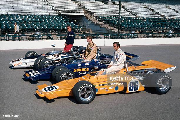Qualifying speeds cars and driver are Bobby Unser 1968 winner of Albuquerque New Mexico in a GurneyEagle at 175816 MPH Mark Donahue Media...