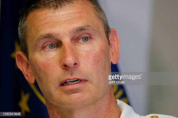 Indianapolis Metropolitan Police Deputy Chief of Investigations, Craig McCartt, speaks at a press conference in regards to a mass shooting at a FedEx...