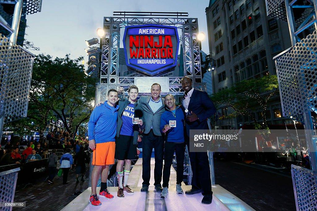 WARRIOR -- 'Indianapolis Qualifier' -- Pictured: (l-r) Ricky Stenhouse Jr., Josef Newgarden, Matt Iseman, Tony Kanaan, Akbar Gbajabiamila --