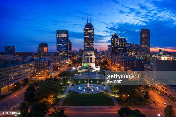 indianapolis skyline and park aerial at dusk - indiana stock pictures, royalty-free photos & images