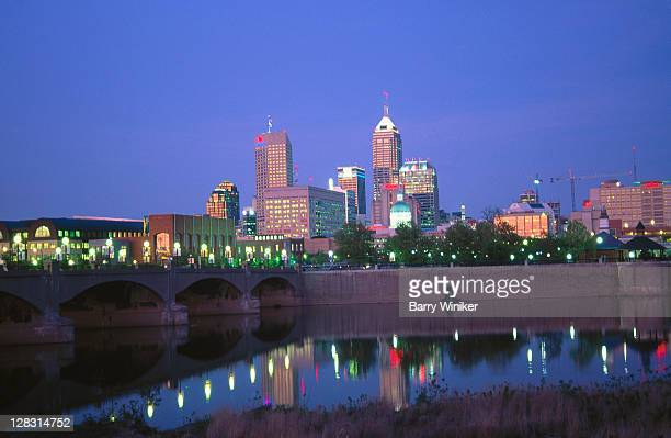 IN, Indianapolis, Skyline from White River Gardens