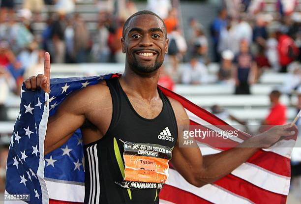 Indianapolis, UNITED STATES: Tyson Gay celebrates winning the Men's 100 Meter Dash of the 2007 AT&T US Outdoor Track and Field Championships 22 June...