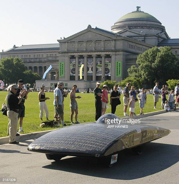 Indiana's Purdue University solar powered car SPOT 13 July 2003 is seen at the start of the race across America on historic Route 66 at the Chicago...