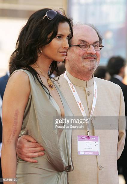 Indianborn author Salman Rushdie and wife Padma Lakshmi attend the premiere of movie 'Comme Une Image' directed by Agnes Jaoui at the Palais des...