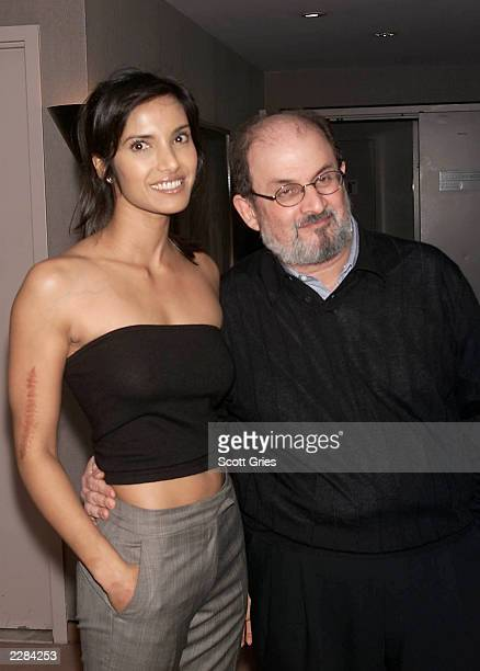 Indianborn author Salman Rushdie with his girlfriend Padma Lakshmi at a special screening of 'I Am Sam' directed by Jessie Nelson at the AOL/Time...