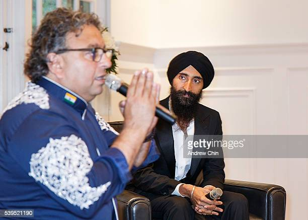 Indianborn Canadian chef and cookbook author Vikram Vij interviews Designer Waris Ahluwalia during Dinner By Starlight at Stanley Park Pavilion on...