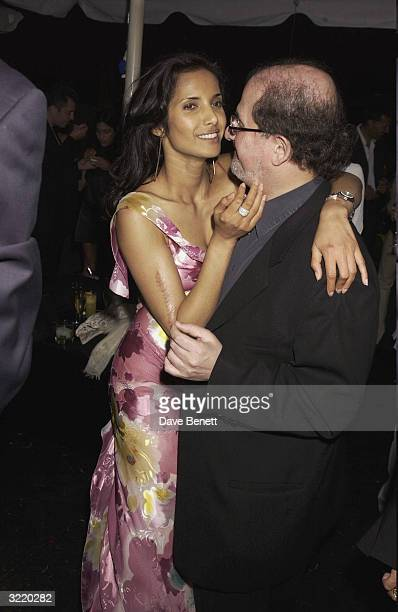 Indianborn writer Salman Rushdie and Padma Lakshmi attend the 2003 Serpentine Gallery Summer Party in Hyde Park on July 3 2003 in London
