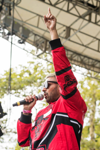 IndianBritish Folkhop singer Jaz Dhami performs at Central Park SummerStage during the Basement Bhangra 20th Anniversary celebration New York New...