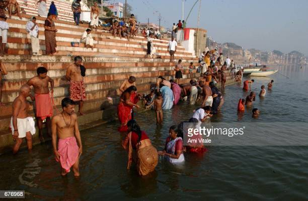 Indians bath in the holy Ganges river December 9 2001 in Varanasi India The late George Harrison a longtime devotee of Hinduism reportedly left over...