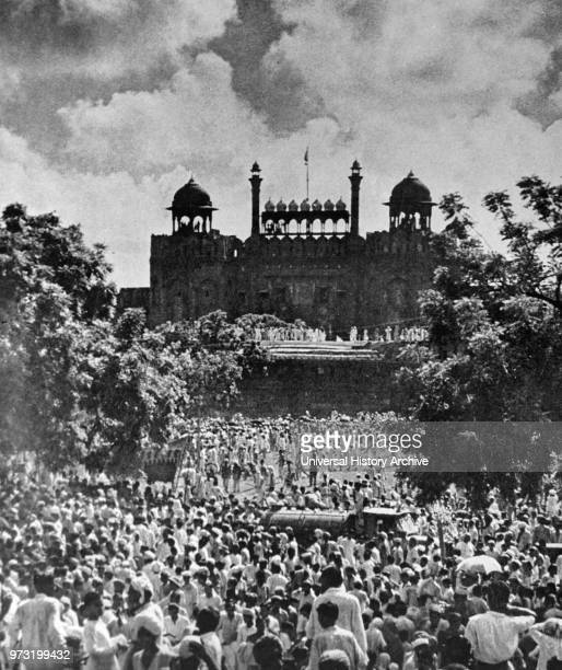 Indians celebrate in Delhi during the declaration of Independence Day in India August 15th 1947