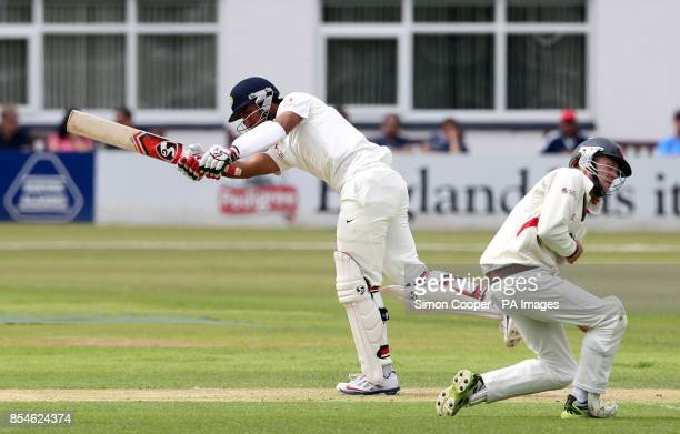 Indians' Cheteshwar Pujara bats during day one of the international warm up match at Grace Road Leicester