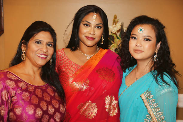 Indians dressed in fancy attire during the Diwali Gala Celebration held in Mississauga Ontario Canada on 25 November 2017 This luxurious gala event...
