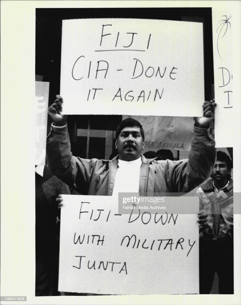 "Indians from the ""People for Democracy in Fiji"" protest outside ..."