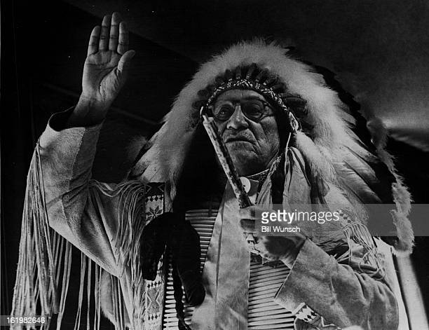 JAN 29 1970 Indians * Gen Frank Fools Crow Oglala Sioux medicine man from pine ridge SD Reservation He performs the prayer of the smoke ceremony to...