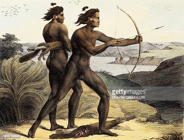 Indians hunting in the bay of San Francisco, California, engraving by Jean Augustin Franquelin from Picturesque voyages around the world, by Louis...