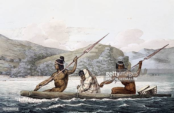 Indians on a boat in the port of San Francisco, California, engraving from Picturesque voyages around the world, by Louis Choris from the expedition...