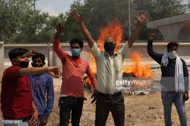 Indians Protesters shout slogans during a protest against Chinese President Xi Jinping in Gurugram on the outskirts of New Delhi, India on 17 June...