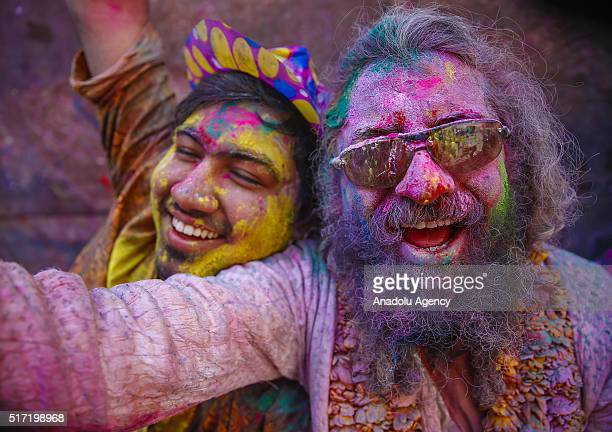 Indians take part in the Holi Festival celebrations in Vrindivan, 120 km far from New Delhi, India on March 24, 2016. Holi, the festival of colors,...