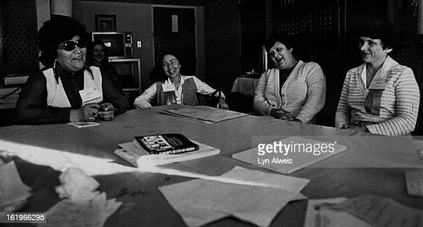 Indians - U.S.; Some Serious Ladies take a Laughter Break; Maxine Edmo, Cheryl Metoyer-Duran, Minerva White and Lotsee Smith were among 230 delegates...