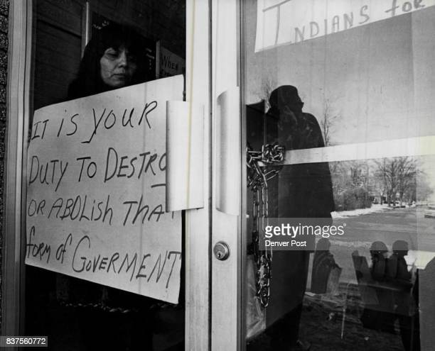 Indians Used An Old The Chain To Keep Everyone Else Out Of Littleton Bureau Of Indian Affairs Office Thursday Peering out the door is Mrs Sue Kulch...