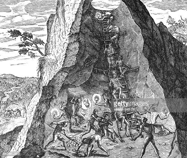 Indians working in a goldmine at Potosi New Spain Line engraving by Theodor de Bry around1590