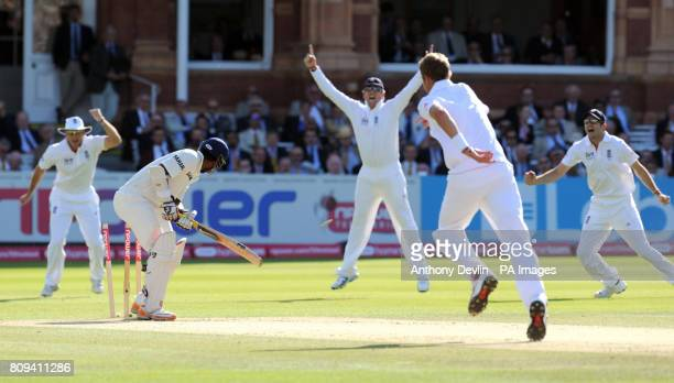 India's Abhinav Mukund is bowled out by England's Stuart Broad for 12 during day four of the First npower Test at Lord's Cricket Ground London