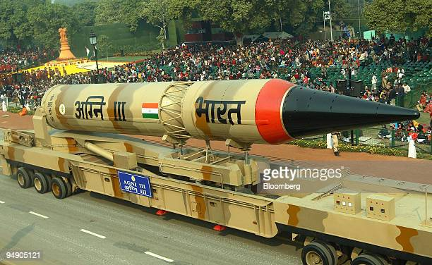 India's Agni III missile is displayed during the Republic Day parade in New Delhi India on Saturday Jan 26 2008 France's President Nicolas Sarkozy...