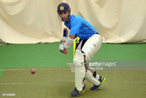 India's Ajinkya Rahane bats in the indoor nets during a rain affected second day of the cricket Tour Match between Leicestershire and India at Grace...