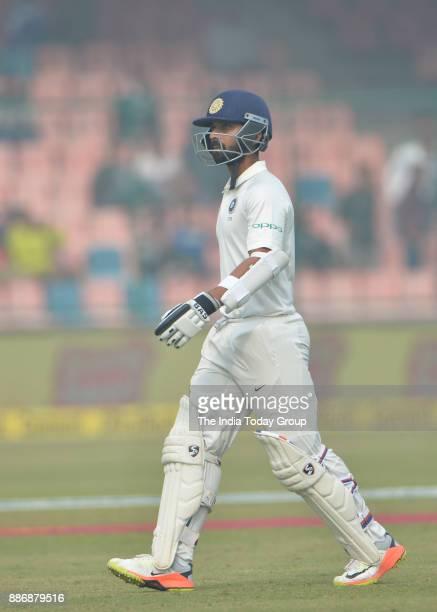 India's Ajinkya Rahane during fourth day of the third cricket test match against Sri Lanka at Ferozshah Kotla in New Delhi