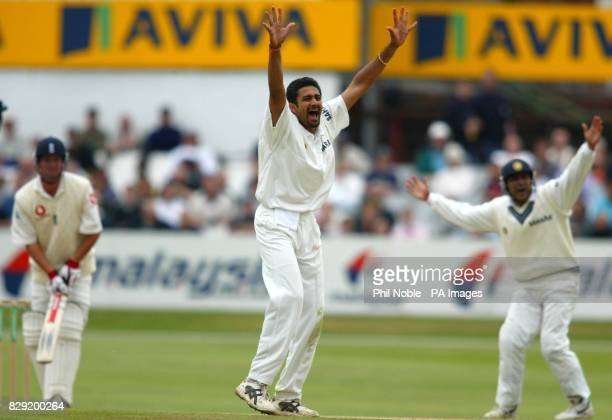 India's Anil Kumble succesfully appeals for an LBW decision against Robert Key of England during during the 4th day of the third nPower Test at...