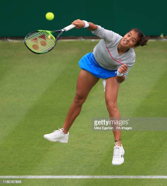 India's Ankita Raina in action against USA's Jessica Pegula during day one of the Nature Valley Classic at Edgbaston Priory Club Birmingham