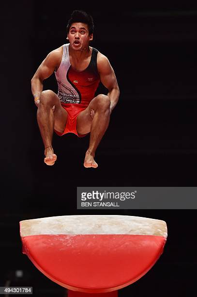 India's Ashish Kumar competes on the vault during the fourth day of the 2015 World Gymnastics Championship in Glasgow Scotland on October 26 2015...