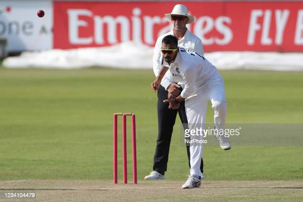 India's Axar Patel bowling during the Tour Match match between County Select XI and India at Emirates Riverside, Chester le Street, England on 21st...