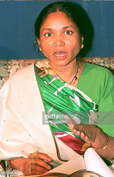 India's 'Bandit Queen' Phoolan Devi unveils plans for a nonpolitical organization to fight social tyranny and uphold the rights of the poor at a news...