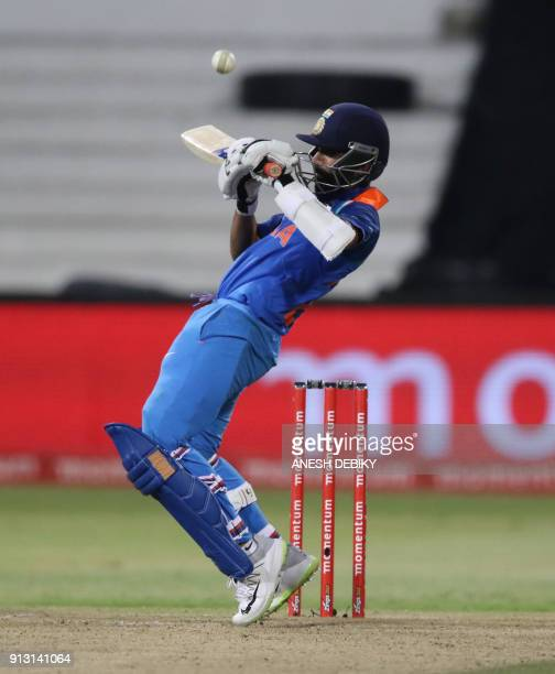 India's batsman Ajainkya Rahane reacts during the first One Day International cricket match between South Africa and India at Kingsmead Cricket...