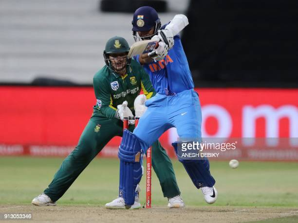 India's batsman Ajinkya Rahane plays a shot during the first One Day International cricket match between South Africa and India at Kingsmead Cricket...
