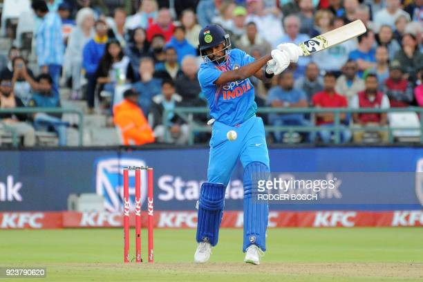 India's batsman Hardik Pandya plays a shot during the third T20 cricket match between India and South Africa at the Newlands Cricket Ground on...