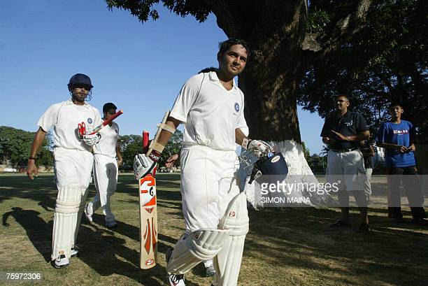 India's batsman Parthiv Patel leaves the field after a match gainst Kenya 05 August 2007 as part of a threeday game at the Mombasa Sports Club Patel...
