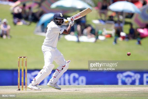 India's batsman Ravichandran Ashwin plays a shot during the third day of the second Test cricket match between South Africa and India at Supersport...