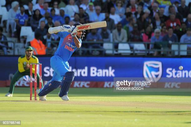 India's batsman Rohit Sharma plays a shot during the third T20 cricket match between India and South Africa at the Newlands Cricket Ground on...
