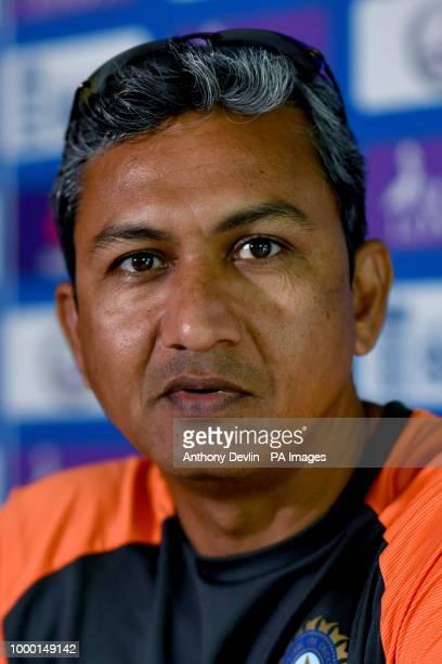 India's batting coach Sanjay Bangar speaks during a press conference at Headingley Carnegie Leeds